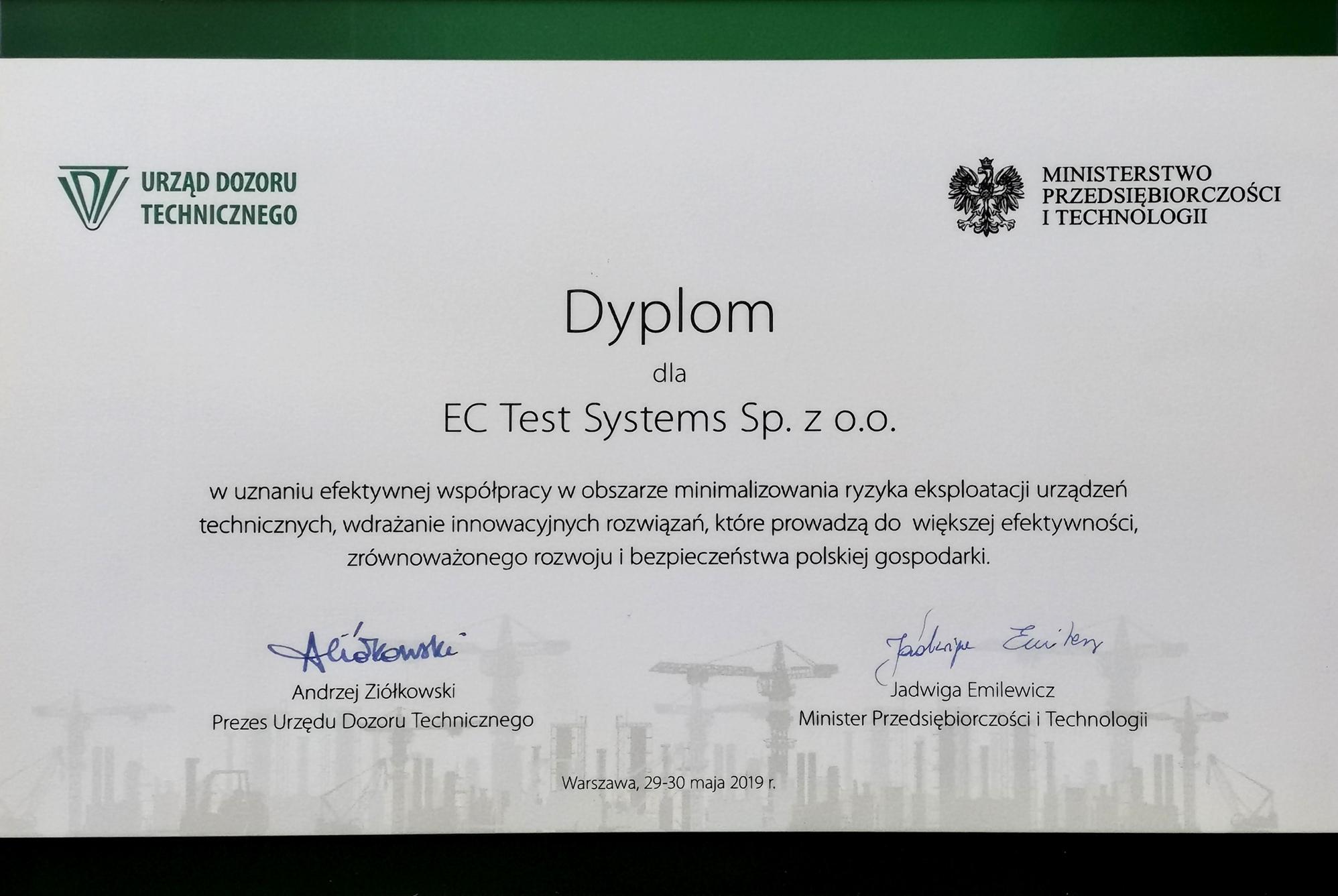 DYPLOM UZNANIA DLA EC TEST SYSTEMS!!!