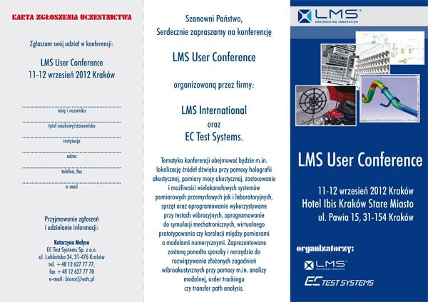 Zaproszenie LMS  6 1 - LMS USER CONFERENCE